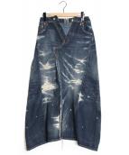 JUNYA WATANABE COMME des GARCONS(ジュンヤ ワタナベ コム デ ギャルソン)の古着「再構築リペア加工デニムスカート」 インディゴ