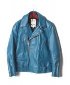 Lewis Leathers(ルイスレザー)の古着「ダブルライダースジャケット」|ターコイズブルー