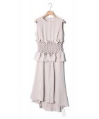 FRAY I.D(フレイアイディー)の古着「ハンドスモッキングドレス」|ベージュ