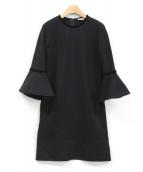 ISSA LONDON(イッサロンドン)の古着「フレアスリーブワンピース」|ブラック