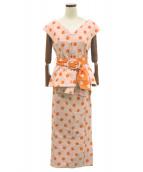 G.V.G.V.(ジーブイジーブイ)の古着「ポルカドットジャガードセットアップ」|オレンジ