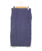 MADISON BLUE(マディソンブルー)の古着「バックサテンタイトロングスカート」|ネイビー