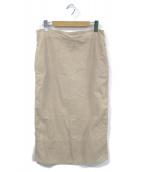 MADISON BLUE(マディソンブルー)の古着「バックサテンタイトロングスカート」 ベージュ