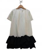 CHESTY(チェスティー)の古着「フリルボトムワンピース」 ホワイト×ネイビー