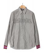 DIESEL(ディーゼル)の古着「ロゴストライプシャツ」 ブラック×ホワイト