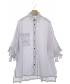 KAMISHIMA CHINAMI(カミシマチナミ)の古着「オーバーストライプシャツ」|ラベンダー
