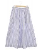 MORIKAGE SHIRT KYOTO(モリカゲシャツキョウト)の古着「パナマドビーストライプスカート」|ネイビー