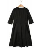 Demi-Luxe BEAMS(デミルクス ビームス)の古着「タックフレアサテンワンピース」|ブラック