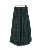DIESEL(ディーゼル)の古着「チェックロングスカート」|グリーン