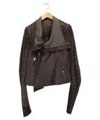 RICK OWENS(リックオウエンス)の古着「デストロイ加工ライダースジャケット」 グレー