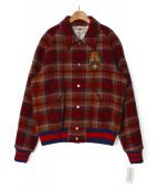 GUCCI(グッチ)の古着「チェックボンバージャケット」|レッド