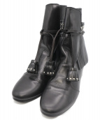Pippichic(ピッピシック)の古着「キルトスタッズブーツ」|ブラック