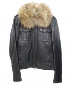 LITHIUM HOMME(リチウムオム・ファム)の古着「ファー付レザージャケット」|ブラック
