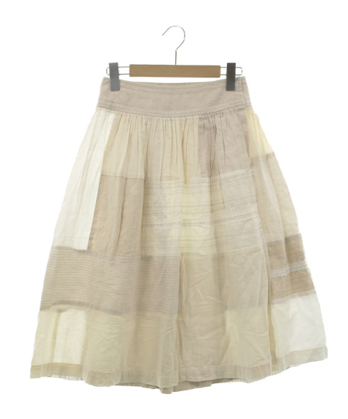 tricot COMME des GARCONS(トリコ コムデギャルソン)tricot COMME des GARCONS (トリココムデギャルソン) パッチワークラップスカート アイボリー サイズ:Sの古着・服飾アイテム