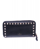 VALENTINO GARAVANI(ヴァレンティノガラヴァーニ)の古着「スタッズラウンドファスナー長財布」 ブラック