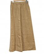 FRAMeWORK(フレームワーク)の古着「リネンツイルフレアロングスカート」|ブラウン