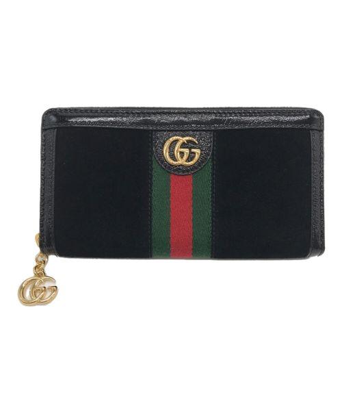 GUCCI(グッチ)GUCCI (グッチ) ラウンドファスナー長財布 ブラックの古着・服飾アイテム
