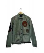 SCOTCH & SODA(スコッチアンドソーダ)の古着「ペイント加工ミリタリージャケット」|オリーブ