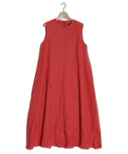 SACRA(サクラ)の古着「リネンポプリンノースリーブAラインロングワンピース」|レッド