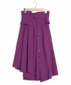emmi atelier(エミアトリエ)の古着「ベルトデザインハイウエストスカート」|パープル