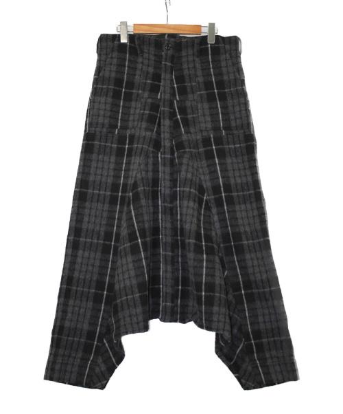 GANRYU(ガンリュウ)GANRYU (ガンリュウ) ウールチェックサルエルパンツ ブラック サイズ:Lの古着・服飾アイテム