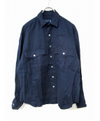Porter Classic(ポータークラシック)の古着「リネンロールアップシャツ」 インディゴ