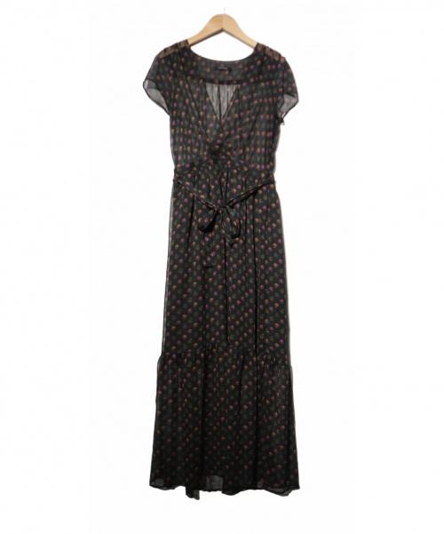 MACPHEE(マカフィー)MACPHEE (マカフィ) ポリエステルフラワープリントロンクワンピース ブラック サイズ:36の古着・服飾アイテム