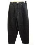 LAD MUSICIAN(ラッドミュージシャン)の古着「タックデニムワイドパンツ」|ブラック