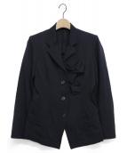 Y's(ワイズ)の古着「ウールコサージュジャケット」|ネイビー