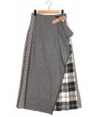 ONEIL OF DUBLIN(オニール オブ ダブリン)の古着「パッチワークキルトスカート」 グレー