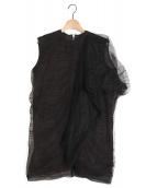RICK OWENS(リックオウエンス)の古着「チュールノースリーブブラウス」|ブラック
