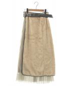 PUBLIC TOKYO(パブリックトウキョウ)の古着「ファーレイヤードラップスカート」|ベージュ