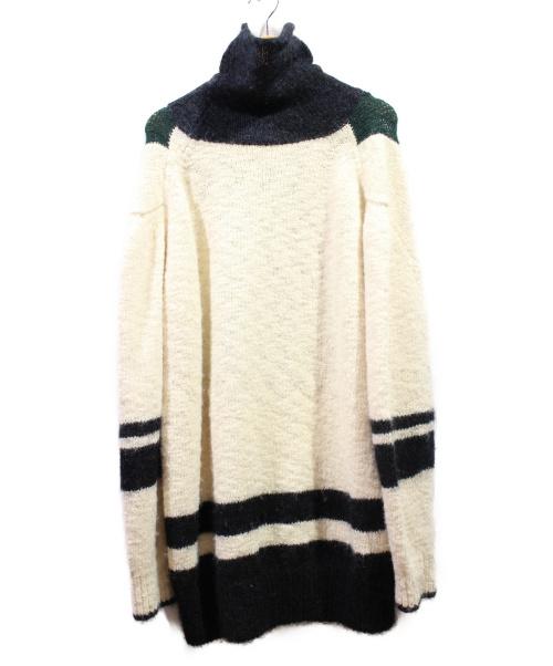 TOGA PULLA(トーガ プルラ)TOGA PULLA (トーガ プルラ) ハイネックニット ホワイト×グリーン サイズ:36の古着・服飾アイテム