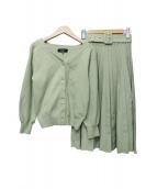 JUSGLITTY(ジャスグリッティ)の古着「ニットプリーツスカートセットアップ」|黄緑