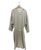 ARGUE(アギュー)の古着「Linem-Cotton Vneck Dress ワンピース」|ナチュラル