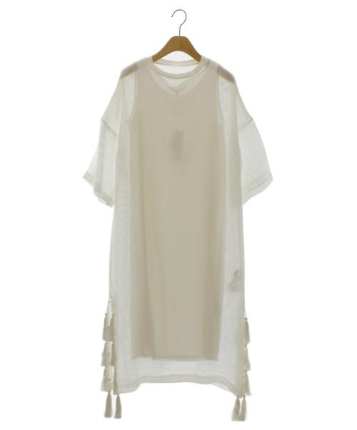 UN3D.(アンスリード)UN3D. (アンスリード) メッシュレイヤードワンピース ホワイト サイズ:Fの古着・服飾アイテム