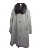 Harrods(ハロッズ)の古着「ファー付アンゴラビーバーウールコート」|グレー