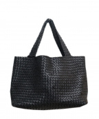FALORNI(ファロルニ)の古着「イントレチャートレザートートバッグ」|ブラック