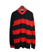 GIVENCHY(ジバンシィ)の古着「15AW ダメージ加工ポロシャツ」|ブラック×レッド