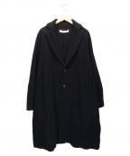 SUZUKI TAKAYUKI(スズキタカユキ)の古着「襟レザーチェスターコート」 ブラック
