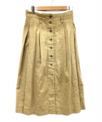 Comptoir des Cotonniers(コントワーデコトニエ)の古着「コットンリネンツイルフロントボタンスカート」|ベージュ