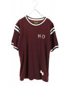 NEIGHBORHOOD×DICE(ネイバーフット×ダイス)の古着「フットボールTシャツ」|ワインレッド