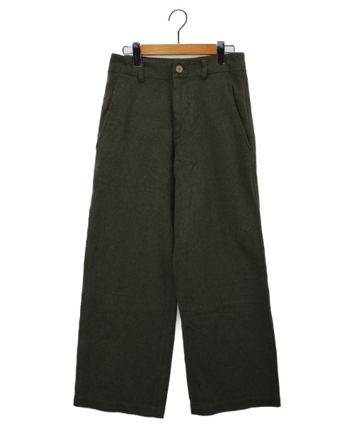 BLACK COMME des GARCONS(ブラックコムデギャルソン)BLACK COMME des GARCONS (ブラックコムデギャルソン) ウールワイドパンツ オリーブ サイズ:XSの古着・服飾アイテム