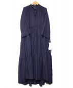 Mila Owen(ミラオーウェン)の古着「斜め切替ティアードロングOP」|ネイビー
