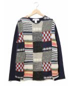 COMME des GARCONS SHIRT(コム デ ギャルソン シャツ)の古着「パッチワークニット/Patchwork knit top」|ネイビー