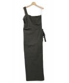 FUMIKA UCHIDA(フミカ ウチダ)の古着「SLAB TWILL COTTON ASYMMETRY AP」|オリーブ