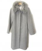 NATURAL BEAUTY(ナチュラルビューティー)の古着「襟カフスファー付ステンカラーコート」 グレー