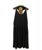 ETRO(エトロ)の古着「ビーズ装飾シルクノースリーブワンピース」|ブラック