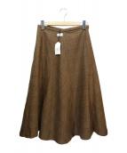 GRANDMA MAMA DAUGHTER(グランマ ママ ドーター)の古着「グレンチェックフレアスカート」|ブラウン