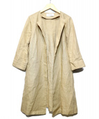 heliopole(エリオポール)の古着「リネンクルーロングジャケット」 ベージュ